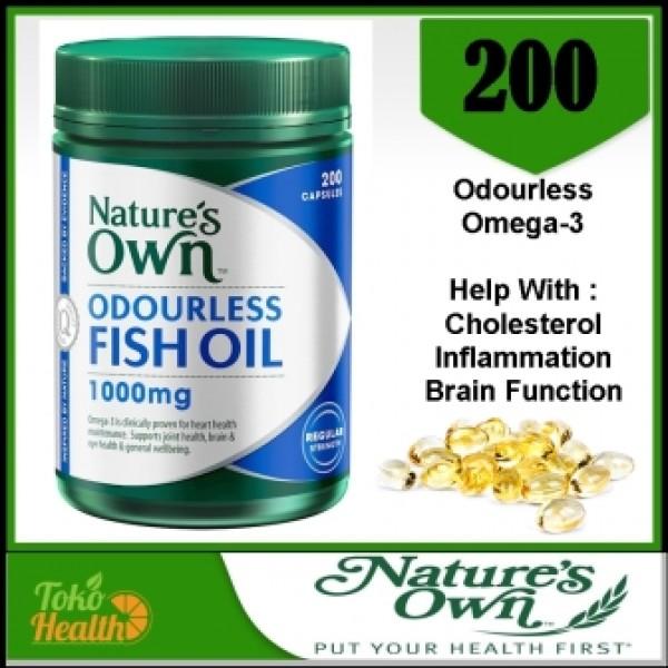 Natures Own Odourless Fish Oil 1000 mg 200 Gels Minyak Ikan Omega 3